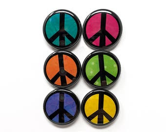 Peace Pin or Peace Magnet Set - Peace Symbol - Peace Sign Pinback Button Badges or Fridge Magnets - Protest Pins