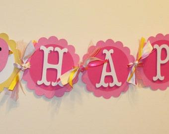 LIttle Pink Birdie Bird Happy Birthday Banner, Birdie Birthday, First Birthday, Little Bird Birthday, Sweet Bird