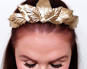 Gold crown, Flower Crown, crown, metal crown, gold headpiece, headpiece, flowers, floral crown, leaf crown, leaves, factinator.