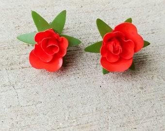 1950s Red Rose Earrings   Vintage 50s Floral Plastic Screw Back Earrings   Womens Jewelry Accessories