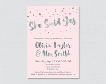 Pink and Silver Engagement Party Invitation Printable or Printed - Faux Silver Foil Engagement Party Invitations, Pink and Gray Party 0010-K