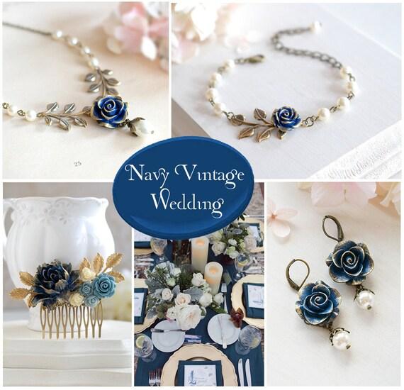 Navy Blue Bridal Hair Comb Gold Navy Blue Wedding Something