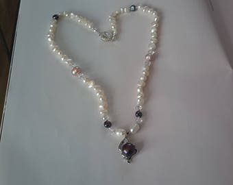 Freshwater mixed pearl necklace and earrings