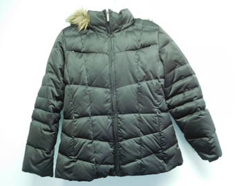 Calvin Klein Dark Brown Bubble Puffer Quilted Down Jacket with Faux Fur Trimmed Removable Hood Size PS
