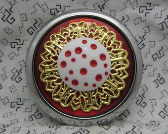 Compact Mirror Red Polka Dots Comes with Protective Pouch