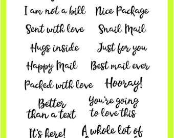 You've Got Mail Clear Stamps - Snail, Special Delivery, Happy, Nice Package, Text, Bill, Smiles, Love - Planner, Journal, Handmade Cards