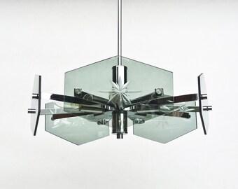 Reserved - Midcentury Modern Chandelier / Smoked Glass  Fontana Arte  Veca Style  Pendant Light / 70s Italy