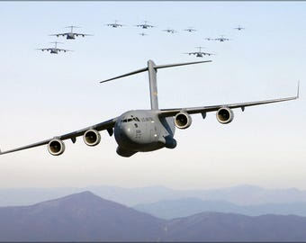 Poster, Many Sizes Available; Thirteen C-17 Globemaster Iii Over Blue Ridge Mountains