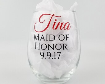 Personalized Bridal Party Glasses - stemless white wine glasses - Bridesmaid gifts with name and role - set of three