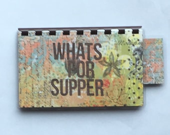 Handmade Brown 'Whats for Supper' Blank Recipe book for Personal Recipes