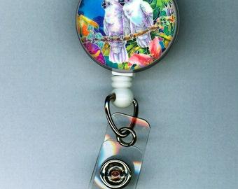 SALE!!! Cockatoo Pair Tropical Gift Retractable ID Badge Holder Reel Clip