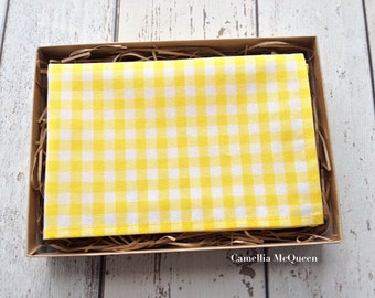 Men's pocket square, men's handkerchief, corn yellow gingham pocket square