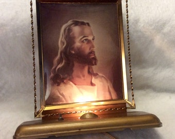 1940's Jesus print desk lamp, working 1941 Kriebal and Bates print. Free ship to US.