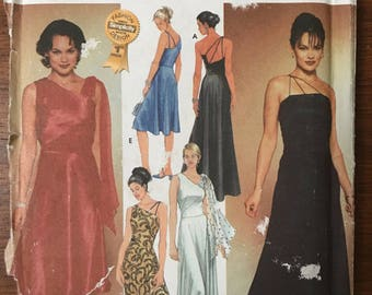 Misses Bias Evening Dress Sz 4/6/8/10 - Simplicity Evening Dress Pattern 7006 - Misses' Evening dress in 2 Lengths