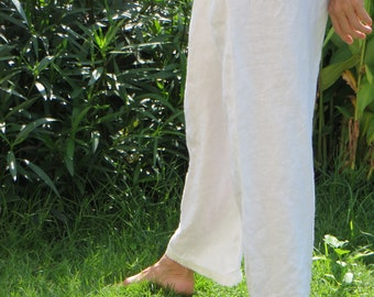 White Linen Fisherman Pants from Thailand