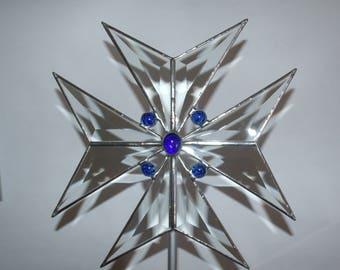 Beveled Glass Maltese Cross Christmas Tree Topper, Gift for Firefighter
