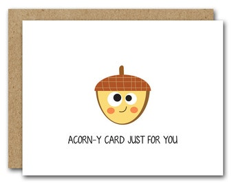 PRINTABLE Printable Fall Card, Fall Greeting Card, Acorn Card, Acorn Note Card, Acorn Notecard, A Corny Card For You, INSTANT DOWNLOAD
