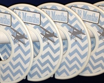 Custom Baby Closet Clothes Dividers Vintage Bi-planes Biplanes Planes Airplanes Grey Baby Blue CD575 Boy Infant Baby Shower Nursery Gift