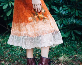 Hand-made felted skirt