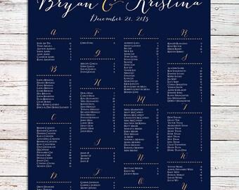 Wedding Seating Chart RUSH SERVICE Gold Black Polka Dots