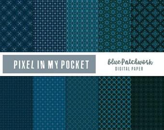 Blue Patchwork Digital Patterned Paper Pack [Instant Download]