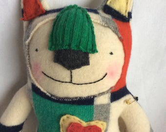 Wool stuffy cat, made from repurposed sweater. Huggable and sweet toy or collectible.