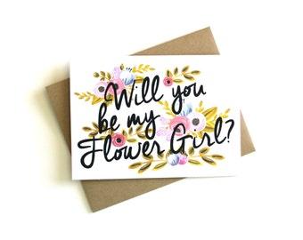 Flower Girl Card - Will You Be My Flower Girl Card, Flower Girl Cards, Flower Girl Gift, Be My Flower Girl Card