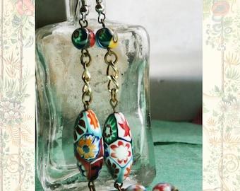 Vintage Millefiori Murano Glass Dangle Earrings