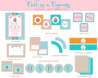 CUPCAKE Birthday Party, Baking Party, Pink and Turquoise PRINTABLE Collection - As Seen on Hostess with the Mostess