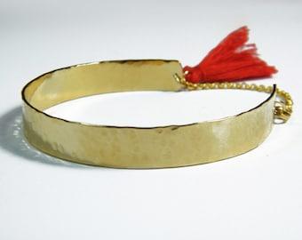 Tassel gold bracelet Hammered gold bangle fringe tassel bracelet Gold boho cuff