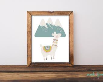 Llama Art Print Mountains Alpaca Nursery Gift Baby GiftPrintable Llama Baby Shower Mountain Alpaca Wall Decor Instant Download Whimsical