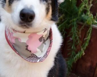 "Dog Bandana Pink Brown and Cream Size Medium Double Sided - Cotton - Dog Scarf - Girl Dog Bandana Dog Apparel - Puppy Bandana  9"" by  30"""