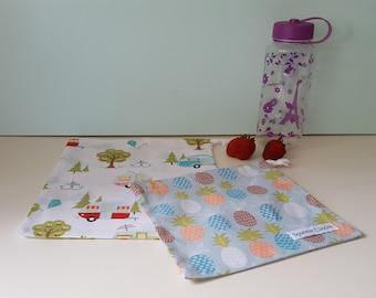 Caravans & Pineapples - Drawstring Bag Set, Fresh Produce Bags, Project Bag, Toy Bag, Reusable, Ecofriendly, Handmade