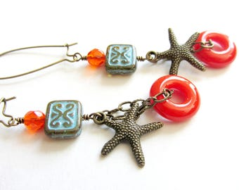 Bright Beach Dangle Earrings, Turquoise and Orange Starfish Earrings, Handmade Fused Glass Beads, California Girl