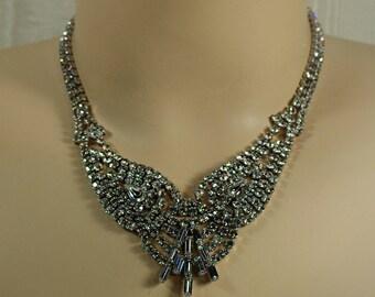 Art Deco Angel Wing Rhinestone Necklace, Rhinestone Bib Choker, Silver Bridal Statement Necklace, Clear Rhinestone Glam Necklace Under 50