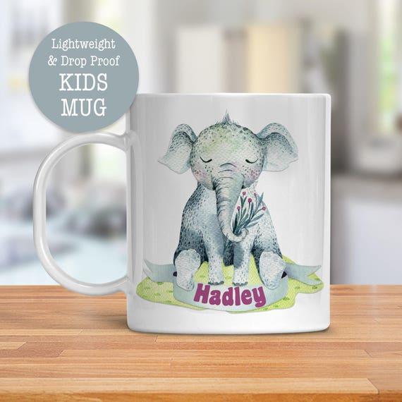 Kids Mug - Personalized Mug - Elephant Cup - Dishwasher Safe - Lightweight Drop Proof Cup for Kids - Plastic Mug for Kid