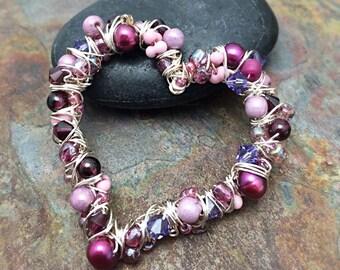 Wired Heart Gemstone Beaded Pendant with Garnets January Birthstone