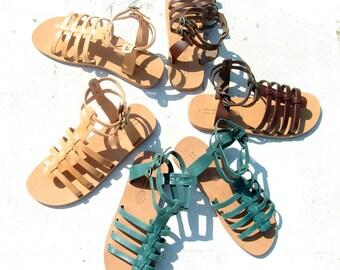 Greek leather gladiators, Greek sandals,mens sandals,Handmade greek sandals,womens gladiator, nu-pieds grecques,sandales cuir, sandale femme