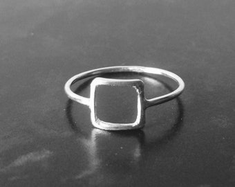 Geometric square ring sterling silver