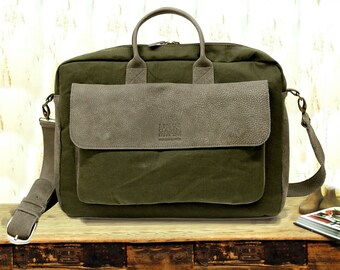 Sale! Messenger Bag Man messenger bag Crossbody bag Leather messenger bag man, Wax canvas fabric, canvas messenger bag, laptop messenger bag