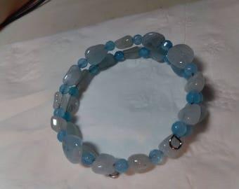 Aqua and Blue Chalcedony Bracelet