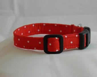 Red Polka Dot Collar - Size S