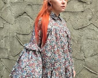 Handmade 'Lillian' Shirt in Floral Cotton