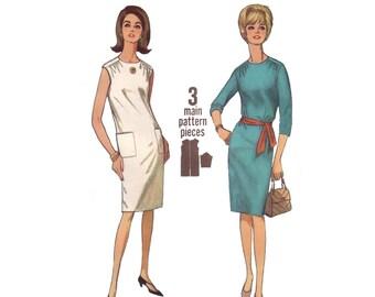 60s uncut Sheath Dress pattern Summer Dress with Pockets vintage 34-26-36 Simplicity 6264