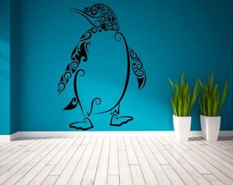 Wall Vinyl Sticker Decals Mural Room Design Decor Pattern Penguin Animal Bird Antarctica Ice Winter mi332