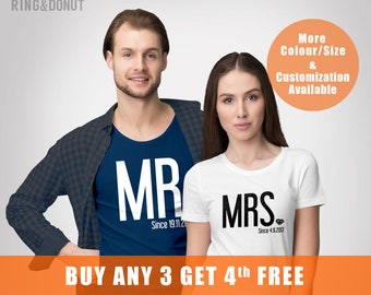 Matching wedding shirts, Mr and Mrs, wifey, hubby, couple, Just Married Personalized T-Shirts, date T-Shirt, Bride and Groom,