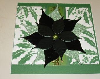 "6X6 Christmas Poinsettia Card ""Green"""