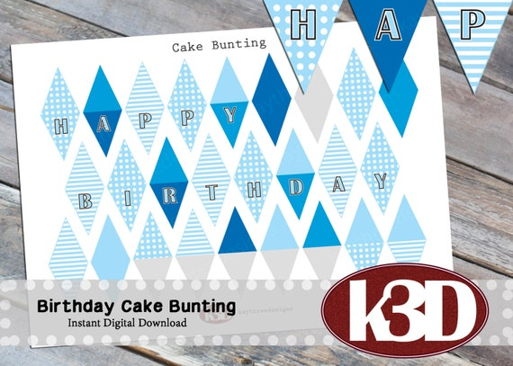 Happy Birthday mini Cake Bunting Printable Cake Banner Cake
