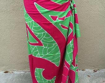 Maori, New Zealand, dance fabric, pareo, costume, pink and green print, rayon, fringeless, full, half or child size