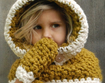 Crochet PATTERN-The Fern Hood/Mitten Set (3/6, 6/12, 12/18 months, toddler, child, adult sizes)